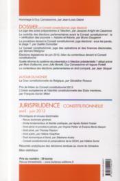 LES NOUVEAUX CAHIERS DU CONSEIL CONSTITUTIONNEL N.41 ; le Conseil constitutionnel, juge électoral - 4ème de couverture - Format classique