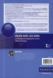 Jouer Avec Les Sons La Metaphonologie Pour Entrer Dans La Lecture - 4ème de couverture - Format classique