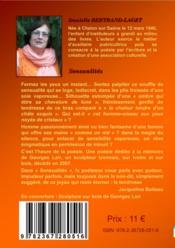 Sensualités ; recueil de poésie - 4ème de couverture - Format classique