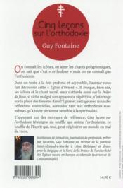 Cinq leçons sur l'orthodoxie - 4ème de couverture - Format classique