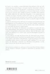 Langue Et Litteratures Francophones - 4ème de couverture - Format classique