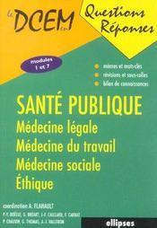 Sante Publique Medecine Legale Medecine Du Travail Medecine Sociale Ethique - Intérieur - Format classique
