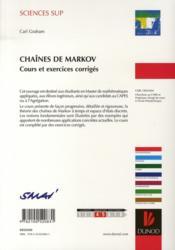 Chaînes de Markov ; cours et exercices corrigés - 4ème de couverture - Format classique