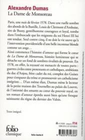 La dame de Monsoreau - 4ème de couverture - Format classique