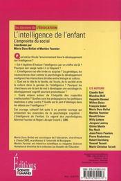 L'intelligence de l'enfant ; l'empreinte du social - 4ème de couverture - Format classique