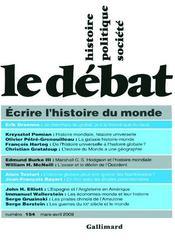 Revue Le Débat N.154 ; écrire l'histoire du monde - Couverture - Format classique