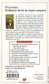 Profession de foi du vicaire savoyard - Couverture - Format classique