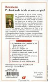 Profession de foi du vicaire savoyard - 4ème de couverture - Format classique