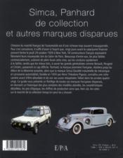 Voitures Simca, Panhard et autres marques disparues - 4ème de couverture - Format classique