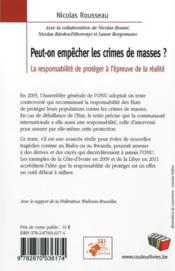 Peut-on empêcher les crimes de masses ? la responsabilité de protéger à l'épreuve de la réalité - 4ème de couverture - Format classique