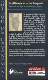 Un philosophe au service d'un peuple : rousseau et son projet de - 4ème de couverture - Format classique