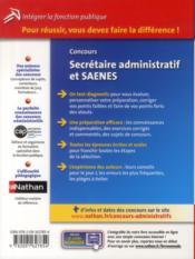 Concours secrétaire administratif et SAENES ; catégorie B ; intégrer la fonction publique (édition 2013) - 4ème de couverture - Format classique