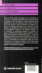 Discours et analyse du discours ; introduction - 4ème de couverture - Format classique