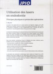 Utilisation des lasers en endodontie - 4ème de couverture - Format classique