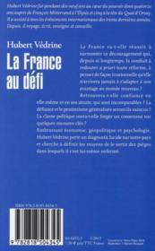 La France au défi - 4ème de couverture - Format classique