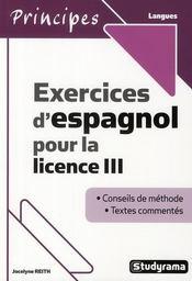 Exercices d'espagnol pour la licence III - Intérieur - Format classique