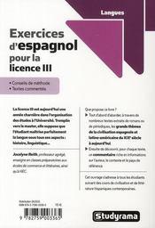 Exercices d'espagnol pour la licence III - 4ème de couverture - Format classique