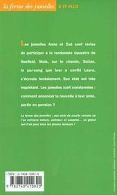 La ferme des jumelles ; au chevet de Sultan - 4ème de couverture - Format classique