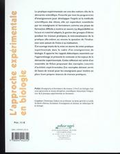 L'approche expérimentale en biologie - 4ème de couverture - Format classique