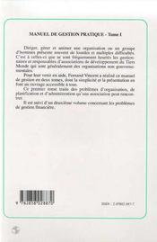Manuel de gestion pratique des associations de developpement rural du tiers-monde t.1 ; organisation, administration, communication - 4ème de couverture - Format classique