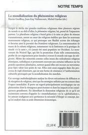 La mondialisation du phénomène religieux - 4ème de couverture - Format classique
