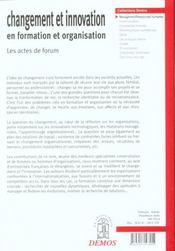 Changement Et Innovation En Formation Et Organisation - 4ème de couverture - Format classique