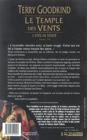 L'épée de vérité t.4 ; le temple des vents - 4ème de couverture - Format classique
