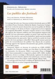 Les publics des festivals - 4ème de couverture - Format classique
