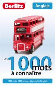 LES 1000 MOTS A CONNAITRE ; anglais - Couverture - Format classique