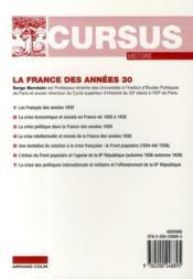 La France des années 30 (5e édition) - 4ème de couverture - Format classique