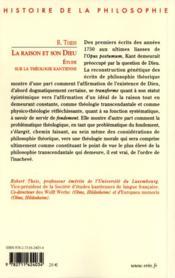 La raison et son Dieu ; étude sur la théologie kantienne - 4ème de couverture - Format classique