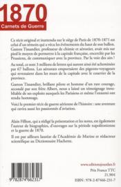En ballon au siège de Paris ; carnets de guerre 1870 - 4ème de couverture - Format classique