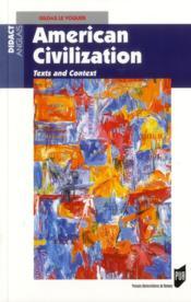 American civilization ; texts and context - Couverture - Format classique