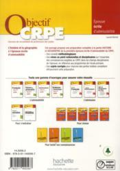 Objectif Crpe ; Histoire/Géographie ; Epreuve Ecrite - 4ème de couverture - Format classique