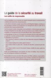 Le guide de la sécurité au travail ; les outils du responsable - 4ème de couverture - Format classique
