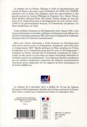 La France, l'Europe et l'aide au développement ; des traités de Rome à nos jours - 4ème de couverture - Format classique