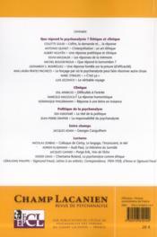 Revue Champ Lacanien N.13 ; Que Répond Le Psychanalyste ? Etique Et Clinique - 4ème de couverture - Format classique