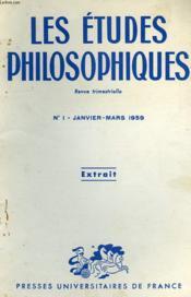 Les Etudes Philosophiques, N° 1, Jan.-Mars 1959, Extrait, Morale Et Liberte - Couverture - Format classique