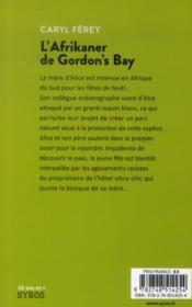 L'afrikaner de Gordon's bay - 4ème de couverture - Format classique
