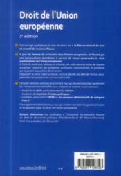 Droit de l'Union européenne (5e édition) - 4ème de couverture - Format classique