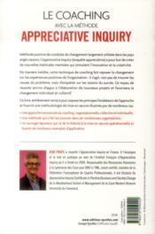 Le coaching collectif avec la méthode appréciative inquiry ; conduire le changement en s'appuyant sur les réussites (2e édition) - 4ème de couverture - Format classique