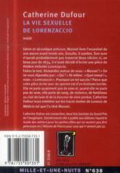 La vie sexuelle de Lorenzaccio - 4ème de couverture - Format classique