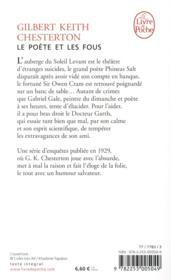 Le poète et les fous - 4ème de couverture - Format classique