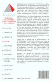 La france des debuts de la iii republique 1870-1896 - 4ème de couverture - Format classique