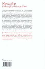 Nietzsche, philosophie de l'esprit libre ; études sur le genèse de choses humaines, trop humaines - 4ème de couverture - Format classique