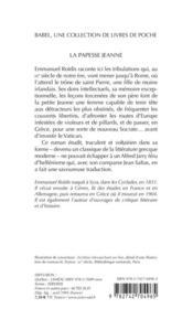 La Papesse Jeanne - 4ème de couverture - Format classique