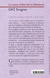 Raison D'Etre De La Litterature (La) (Ne - 4ème de couverture - Format classique