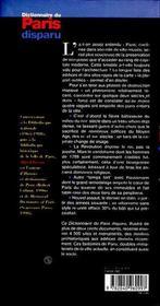 Dictionnaire du paris disparu - 4ème de couverture - Format classique