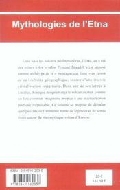 Mythologies De L'Etna - 4ème de couverture - Format classique