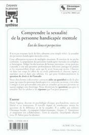 Comprendre La Sexualite De La Personne Handicapee Mental - 4ème de couverture - Format classique